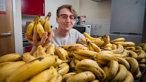 Dane Nash, 21, from Bristol, who eats hundreds of bananas a month. See SWNS story SWBANANAS; Student Dane Nash's diet is totally bananas - he eats up to 150 of the fruit A WEEK. The 21 year-old says he gets a huge 80% of his total calorie intake from fruit alone. He bulk-buys about four or five 18kg crates of bananas a month and chomps on around 20 each day. He starts every morning with three or four small glasses of smoothie made from a mixture of 10-12 bananas and half a pound of spinach. He doesn't cook anything and says he follows a 'raw vegan' diet which costs him around £160 a month. He now eats almost exclusively bananas and leafy greens - including up to a kilogram of spinach per day.